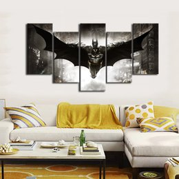 Wholesale Fly Room - 5pcs set Unframed Flying Batman Hero Wall Art Oil Painting On Canvas Textured Paintings Pictures Decor Living Room Decor Wholesale