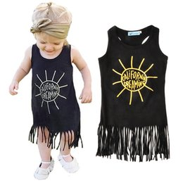Wholesale Kids Sun Dresses - tassel girls dresses summer 2016 high quality sun toddler girl dress fashion letter california dreaming kids dresses for baby girl clothes