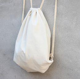 Wholesale Craft Travel - white Canvas drawstring backpack blank plain organizer Rucksack Travel sports phone Bags handbag for men women kids DIY Gift crafts bags