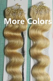 Wholesale Wavy Remy Hair Micro - 5A Grade 10-28'' Body Wavy 0.5g*200s Black Brown Blonde Mixed Ombre Color 100% Indian Remy Human Hair Extensions Loop Micro Rings