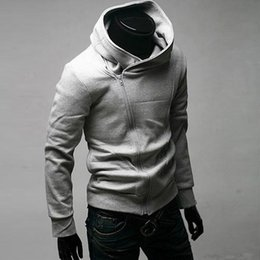 Wholesale Zipper Turtleneck Sweatshirt - Cool Hoodies Men Spring Tops Long Sleeved Casual Solid Color Sweatshirts Hoodie Zipper Up Cotton Autumn Clothing Pullovers