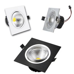 Wholesale Downlight Square 12w - Square Dimmable Led Downlight 9w 12w 15w 20w COB Led Recessed Down Lights Silver White Black + Led Drivers