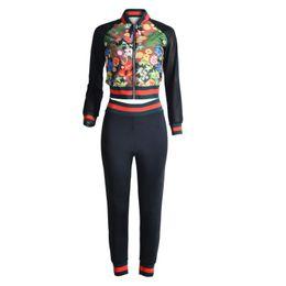 Wholesale Woman Casual Wear Set - Wholesale- YSMARKET Autumn Sexy Floral Print Jumpsuit Two Piece Set Popular 2 Piece Skinny Ports Wear Jumpsuits For Women Long 2017 Y1001