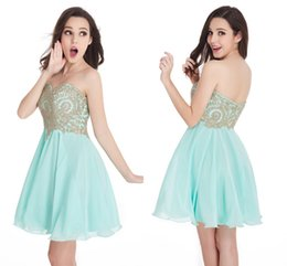 Wholesale Line Mint Green Prom Dress - Only 24.9$ Cheap In Stock Free Shipping Mint Green Mini Short Homecoming Dresses 2016 Sweetheart A Line Zipper Back Prom Cocktail Dresses