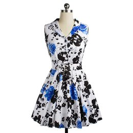 Wholesale Tailor Suit Women - 2016 spring or summer newest one piece of dress with rose print swing dress tailored collar vintage suit