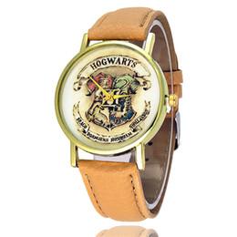 Reloj vintage mujer online-Relojes de pulsera de los hombres de la Mujer Hogwarts Escudo Vestido de moda Relojes Cuero Reloj de cuarzo Personalidad Casual Reloj Vintage Relogio W0464