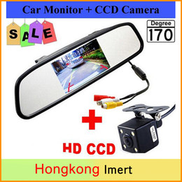 Wholesale Car Rear View Camera Dhl - Free DHL & 4.3 inch Car Rearview Mirror Monitor with LED Night Vision Reversing CCD Car Rear View Camera
