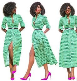 Wholesale Womens Long Cocktail Dresses - Womens Fashion Casual Dresses Autumn Shirt Long Sleeve Ball Gown Dresses Fashion green printing Cocktail party maxi dress