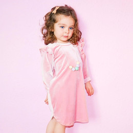 Wholesale Wholes Sales Dresses - ins hot sale children clothing 2017 european baby girl autumn pleuche fly sleeve princess party dress