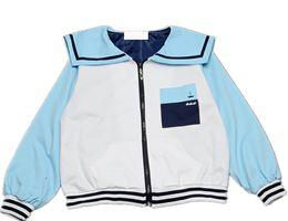Jaqueta de marinheiro on-line-Atacado- Japão HARAJUKU marinheiro gola da primavera jaqueta casual estilo preppy mulheres plus size baseball jaqueta letra da marinha 2016 D67