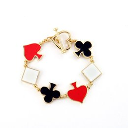 Wholesale Poker Signed - New Style Casino Royal Style Rainbow Smooth Enamel Poker Sign Charm Bracelets for Women Fashion Jewelry Wholesale
