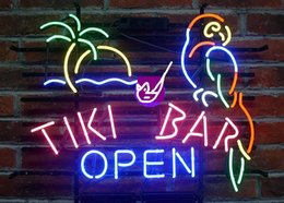 2020 segni al neon di tiki Brand New Larger Tiki Bar Open Parrot Beer Bar Neon Sign Vetro reale Neon Sign Beer light segni al neon di tiki economici