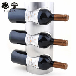 Wholesale Wine Bottle Display Stand - Wholesale-Stainless steel wine racks fashion wall-mounted type wine holder for 3 bottles bar accessories display stand free shipping Y-153