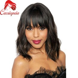 Wholesale Lace Front Wigs Promotions - Promotion Brazilian Short Bob Remy Human Hair Full Lace Wig Lace Front Wig With Bangs Natural Wave Best Guleless Huaman Hair Wig