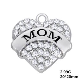Wholesale Engraved Charms For Jewelry - Myshape Engrave Letter MOM Pendant Necklaces & Bracelet & Earrings & Pendant Charms Jewelry Rhodium Crystal Pendant for Mother's Gifts
