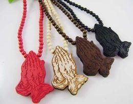 Wholesale Hip Hop Goodwood - Good Wood Hip Hop Praying Hand 4Colors Fashion Goodwood Necklace Wholesale