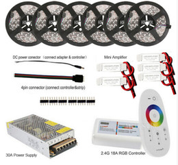 Wholesale 15m Led Strip Controller - 5050 RGB LED Flexible Strip Light Lamp 60leds m 30m 20m 15m 10m 5m DC 12V Waterproof IP65 IP20 Strips 2.4G Remote Controller +Power Adapter