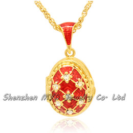 Wholesale Lady Multi Crystal Necklace - Multi-color fashion jewelry findings ladies necklaces Faberge egg pendant locket necklace hand enameled with gold plating