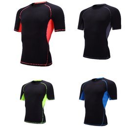 Wholesale base layer shirts - Fashion Men Short Sleeve O-Neck Compression T Shirts Tops Sports Tights Fitness Base Layer Tops