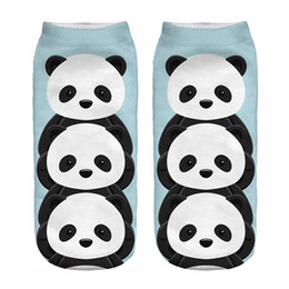 Wholesale Low Cut Formal Dresses - Wholesale-2016 hot Sale 3D Digital Printed Blue Panda Women Socks Unisex Fashion Cute Short Sock Women Low Cut Dress Sock Hot