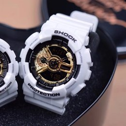 Wholesale Original G Watch - 2017 Mens Brand Luxury G Sports GA110 Watches LED with metal box Outdoor Multifunction Wristwatch Men's Clock Shock Watch Original Box