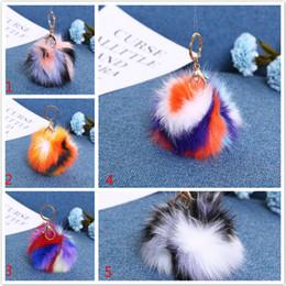 Wholesale Fluffy Animals - Gold Fox Fur Ball Keychain fluffy keychain fur pom pom llaveros portachiavi porte clef Key Ring Key Chain For Bag