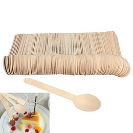 wood kitchen table Promo Codes - 100pcs set Economical Wooden Spoon Western Disposable Spoons Tableware Kitchen Supplies for Table Decoration