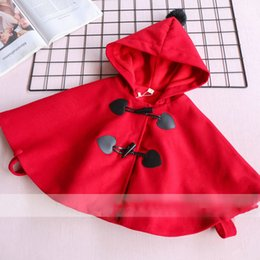 Wholesale Fleece Christmas Jacket - Everweekend Girls Button Hoodie Capes Poncho Cute Baby Red Color Fleece Lining Jacket Lovely Kids Christmas Fall Outerwear