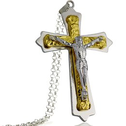 Wholesale Sp Wholesale Jewelry - 3pcs 2016 Hot Explosion Models Necklace Jewelry Unisex Jewelry Trendy Vintage Stainless Steel Necklace Jesus Cross Necklace SP-75