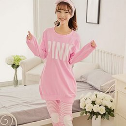 Wholesale Girl S Pajamas - Wholesale- Hot Women Sexy Pyjamas women's pink Pajamas Sets Casual Woman Pijamas Heart Night Wear Fashion Girls Loose Secret Top and Pants