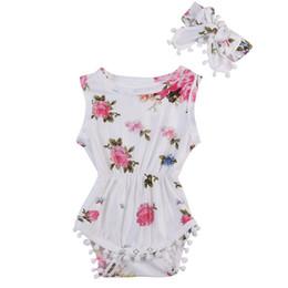 Wholesale Trendy Top Sale - Hot Sale Baby Clothes Suits Trendy Newborn Infant Kids Girl Floral Sleeveless Tassel Romper Headband 2pcs Clothing Top Sunsuit Cotton Sets