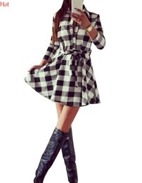 Wholesale Casual Dreses - Hot Korea Ladies Plaid Dreses Check Belt Casual Laple Shirt Skater Dress Women Clothes 3 4 Sleeve Slim Button Mini Pleate Dress SV028904
