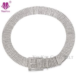 Wholesale Rhinestone Chain Belts For Women - Brand 10 Rows Cubic zirconia Rhinestone Belt Pin Buckle High Quality Designer Belts For Women Cummerbunds Ceinture Femme BL-814