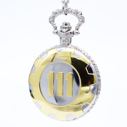 Wholesale Womens Black Necklaces - New Fashion Silver Gold Game Fallout 4 Vault 111 Quartz Pocket Watch Analog Pendant Necklace Mens Watches Womens Boy Gift