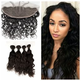 Wholesale Hiar Wave - 13x4 Water Wave Frontal Lace Closure With 4pcs Hiar Bundles Virgin Indian Wet And Wavy Human Hair G-EASY