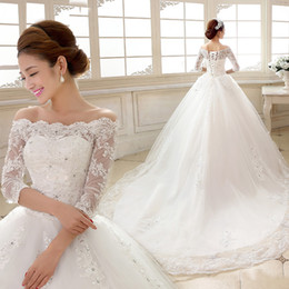 Wholesale Modern Bateau Wedding Dress - SSYFashion 2017 White Lace Wedding Dresses The Bride Married Boat Neck 3 4 Sleeves A-line Long Train Plus Size Lace-up Wedding Gowns