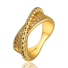 Wholesale 14k Yellow Gold Wedding Bands - Wedding Ring Yellow Gold Plated White Cubic Zircon Magic Christmas Gifts Free Shipping Size 7 8 GPR689-A