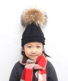 Wholesale Child Wool Tights - Tight Knitted Fur Hat child Winter cap, Fashion Beanie Beanie Headgear Headdress Head Warmer Stretch weave kufi headband with Pom Pom flower