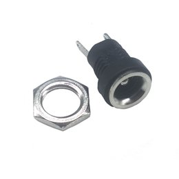 Wholesale 12v Pin Adapters - 100 Pieces LOT DC022B 3A 12v DC Power Supply Jack Socket Female Panel Mount Connector 5.5X 2.1mm Plug Adapter 2 Pins 5.5*2.1 DC-022B