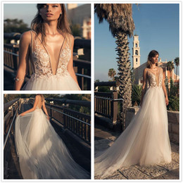 Wholesale Stone Color Dresses - 2018 Betra Illusion Deep V Neck Tulle A Line Wedding Dresses Beaded Stones Backless Court Train Wedding Bridal Gowns