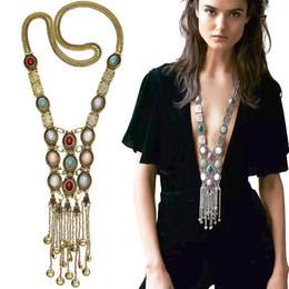 Wholesale Multi Layer Necklace Body Chain - Multi Layers Long Style Necklace Opal Alloy Body Chains EU America Women's Stylish Popular Trendy Jewelry