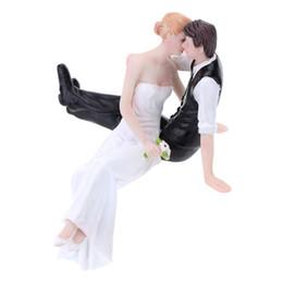 Wholesale Wedding Figurine Bride Groom - Wholesale- High Quality Synthetic Resin Bride & Groom Wedding Cake Topper Romantic Wedding Party Decoration Adorable Figurine Craft