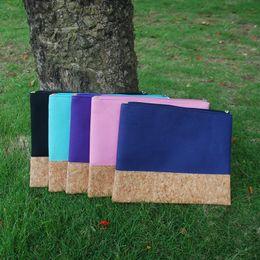 Wholesale Wholesale Canvas Bags Purple - Wholesale Blanks Cotton Canvas and Cork Material Cosmetic Bag Patchwork Joint Color Makeup Bag for Women DOM103368