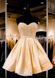 Wholesale Pink Short Corset Homecoming Dress - Gold Beaded Vestidos Homecoming Dresses 2016 Sweetheart Back corset A Line Short Cocktail Party Prom Dresses 8th Grade Graduation Gowns