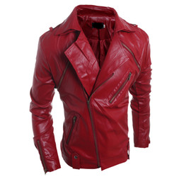 Wholesale Red Leather Jacket Fashion - Fall-2016 China Online Store Mens Coats Luxury Men's Leather Biker Jacket Coats Zipper Cheap Fashion Outwear New Suede Clothing S1108
