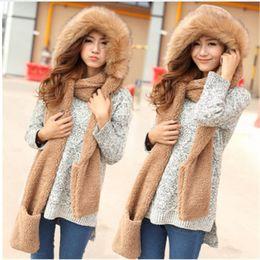 Wholesale Hat Glove Sets Fleece - 2017 Girls women Soft plush Winter Warm Hooded Scarf Neckwarmer Hoodie Hat with pocket fuax fleece brim cap