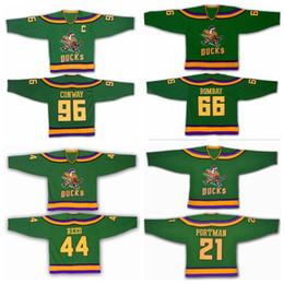 Wholesale Vintage Mighty Ducks Jersey - Anaheim Mighty Ducks Movie Jersey 1993-94 Ice Hockey 96 Charlie Conway 66 Gordon Bombay 21 dean portman 44 Reed Vintage Green