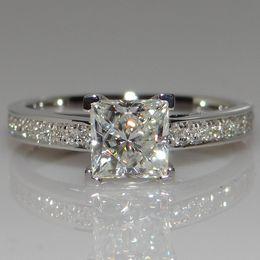 Wholesale Diamond Ct - T Classic 4 Claw 925 silver 1.25 Ct Hybrid Simulated Diamond Ring Princess Wedding Ring