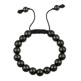Wholesale Shamballa Gold Plated Beads - Wholesale 10mm Black Hematite Shamballa Bracelet Handmade Gem Loose Bead Bracelet Taiwan Cord with Shining Hematite Bracelets Gift for Men