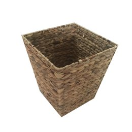Wholesale Garbage Bucket - Handcrafted Water Hyacinth Woven Storage Basket with Metal Frame Garbage Basket Laundry Baskets Sundries Clothes Containers